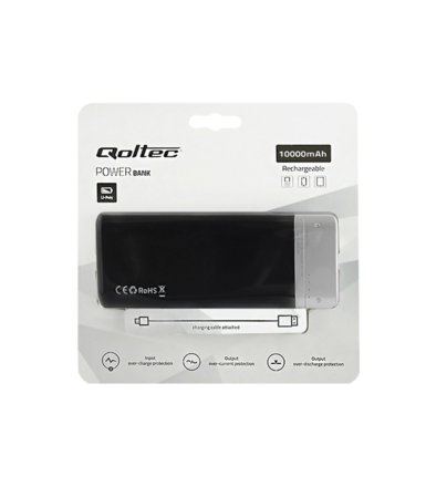 Qoltec Power Bank | czarny | 10000mAh | Li-poly | 2x USB 2.1A