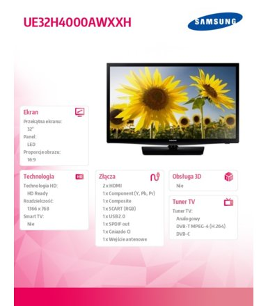 Samsung 32'' TV Slim LED HD UE32H4000AWXXH