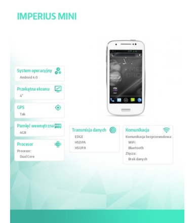 "Media-Tech IMPERIUS MINI - DUAL SIM 4"" AERO 2, BIAŁY"