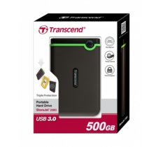 Transcend StoreJet 25 M3 500GB 2.5'' USB3.0 Black -  Rubber Case, Anti-Shock