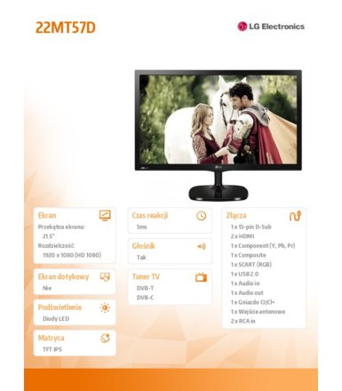 LG Electronics 21.5'' 22MT57D  IPS TV 5000000:1 250cd HDMI