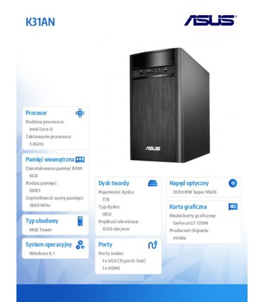 Asus K31AN-PL012S  W8.1 i3-4160/6/1TB/GT720/DVD/KB/Mouse