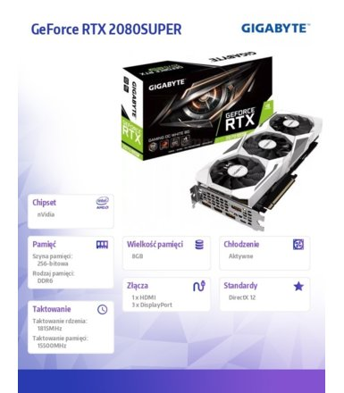 Gigabyte Karta graficzna GeForce RTX 2080 SUPER GAMING OC WHITE 8GB 256bit GDDR6 HDMI/3DP