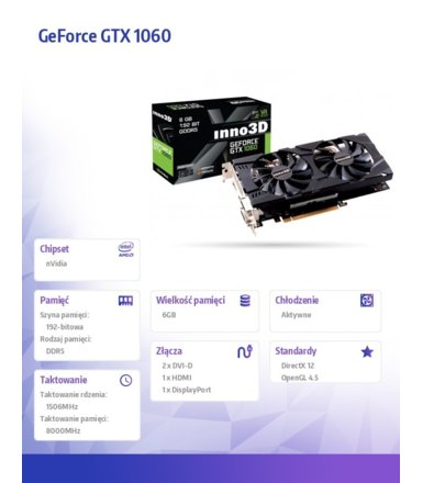 Inno3D GeForce GTX 1060 TwinX2 6GB GDDR5 1708/8000 (DP HDMI 2xDVI-D)