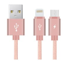 Benks Kabel 2w1 Nylonowy Micro USB + Lightning Rose Gold