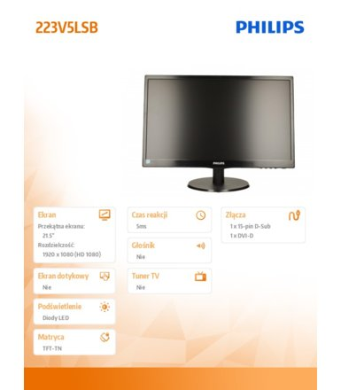 Philips 21.5'' 223V5LSB  LED DVI Czarny
