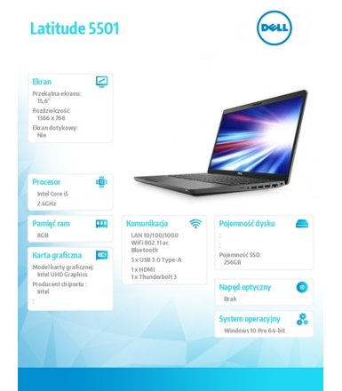 Dell Notebook Latitude 5501 Win10Pro i5-9300H/256GB/8GB/Intel UHD 630/15.6 HD/KB-Backlit/4-cell/3Y BWOS + Accidential Damage
