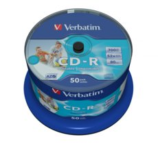 Verbatim CD-R 52x 700MB 50P CB Printable   43438