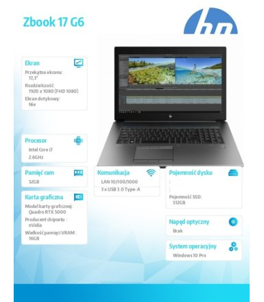 HP Inc. Laptop ZBook 17 G6 i7-9850H 512/32/W10P/17,3 6TV09EA