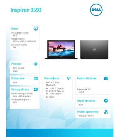 Dell Notebook Inspiron 3593 Win 10Pro i5-1035G1/512/8/INT/Black