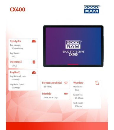 GOODRAM Dysk SSD CX400 128GB  SATA3 2,5 550/450MB/s 7mm