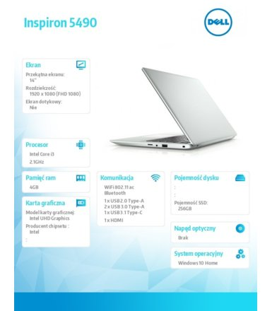 Dell Notebook Inspiron 5490 Win10Home i3-10110U/256/4/INT/Silver