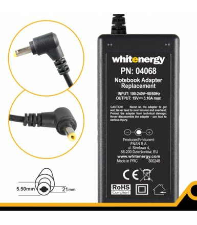 Whitenergy Zasilacz 19V | 3.16A 60W wtyk 5.5x2.1mm  04068