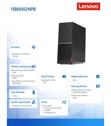Lenovo Komputer V530 Tower 11BH002NPB W10Pro i5-9400/8GB/1TB/INT/DVD/3YRS OS