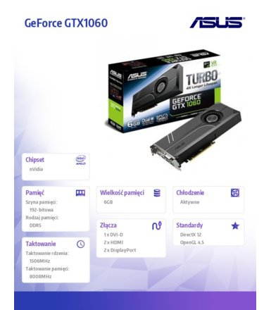 Asus GTX1060 TURBO 6GB DDR5 192BIT DV/HD/DP