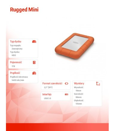 LaCie Rugged Mini 1 TB 2,5'' LAC301558