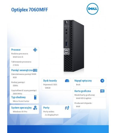 Dell Komputer Optiplex 7060MFF W10Pro i5-8500T/8GB/128GB/Intel UHD 630/WLAN + BT/KB216/MS116/vPro/3Y NBD