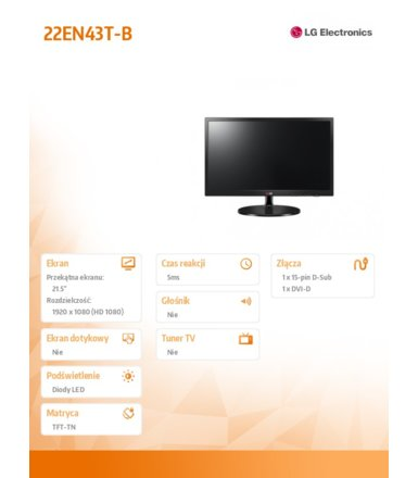 LG Electronics 21.5'' 22EN43T-B LED 5ms 5000000:1 DVI
