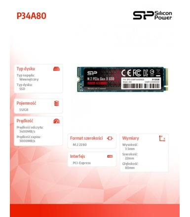 Silicon Power Dysk SSD A80 512GB M.2 PCIe 3400/3000 MB/s NVMe