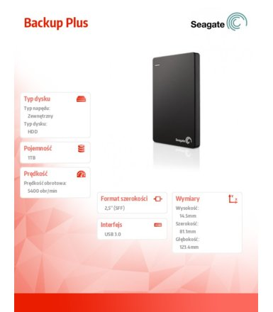 Seagate STDR1000200 1TB 2,5''USB3.0 Backup Black