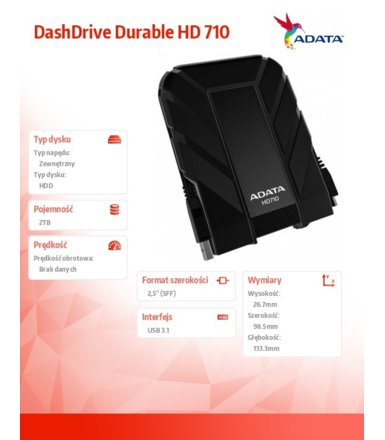 Adata DashDrive Durable HD710 2TB 2.5'' USB3.1 Czarny