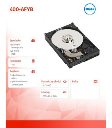 Dell 1TB SATA 7.2K 3.5' Non Hot-Plug 400-AFYB