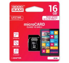 GOODRAM microSD 16GB CL10 UHS I + adapter