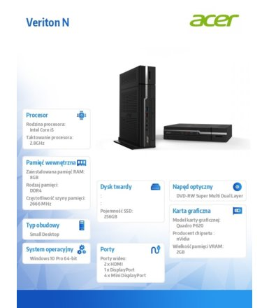 Acer PC Veriton NV4660G WIN10PRO/ i5-8400/8GB/256SSD/DVD/QuadroP620