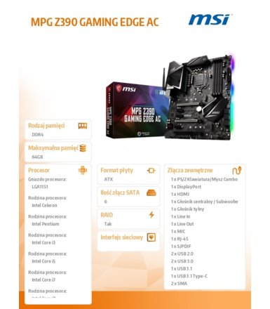 MSI Płyta główna MPG Z390 GAMING EDGE AC s1151 4DDR4 HDMI/DP/USB 3.1 ATX