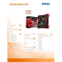 MSI B350M GAMING PRO A4 B350 2DDR4 6USB3/HDMI uATX