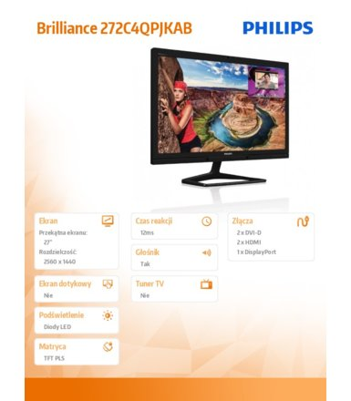 Philips 27'' 272C4QPJKEB LED PLS DVI HDMI DP Multiview Kamera Mikrofon Głośniki Czarny