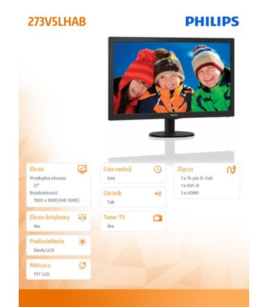 Philips 27'' 273V5LHAB LED HDMI Glosniki Czarny